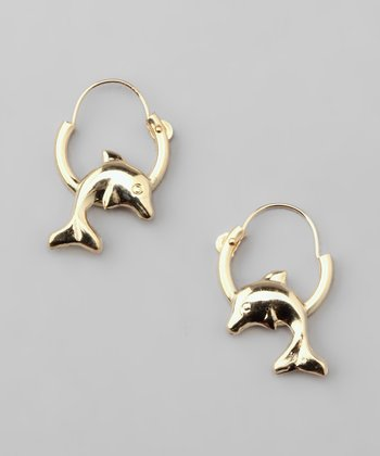 Gold Dolphin Endless Hoop Earrings