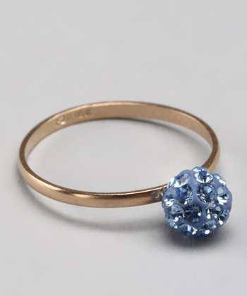10k Light Blue Crystal Ball Ring