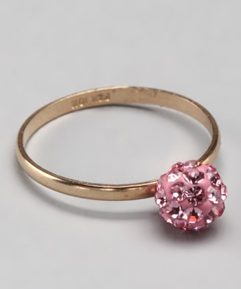 10k Pink Crystal Ball Ring