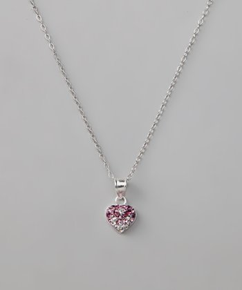 Purple Sterling Silver Crystal Heart Necklace