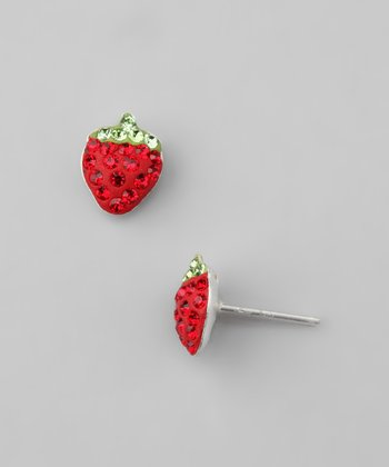 Sterling Silver & Red Strawberry Earrings
