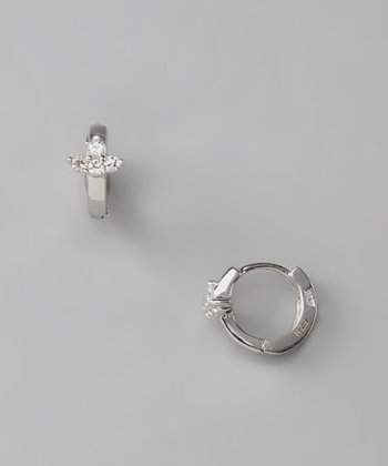 Sterling Silver Fleur Hoop Earrings