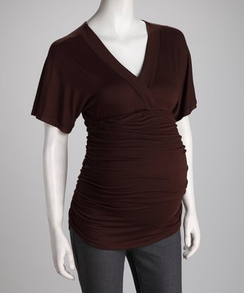 Brown Ruched Maternity Top