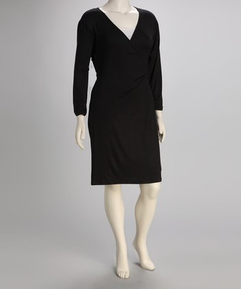 Black Plus-Size Surplice Dress