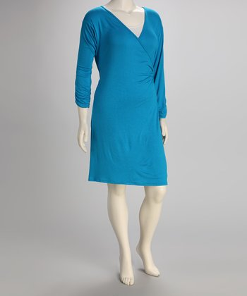 Turquoise Plus-Size Surplice Dress