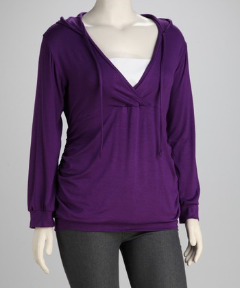 Purple Hooded Surplice Top - Plus