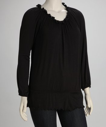 Black Plus-Size Peasant Top