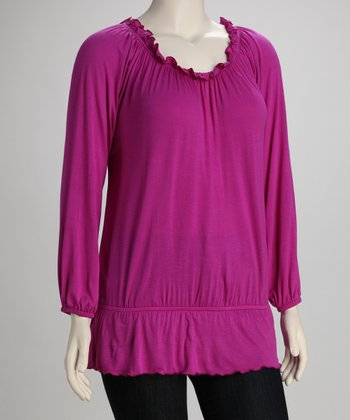 Berry Plus-Size Peasant Top