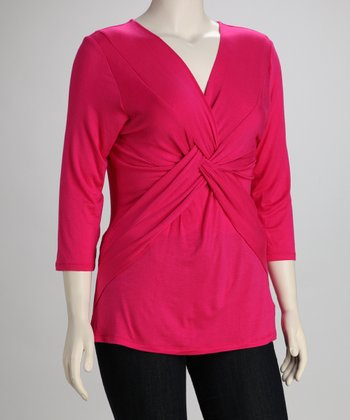 Fuchsia Twist-Front Plus-Size Top