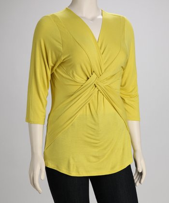 Lime Twist-Front Plus-Size Top