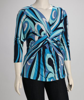 Blue Retro Twist-Front Plus-Size Top