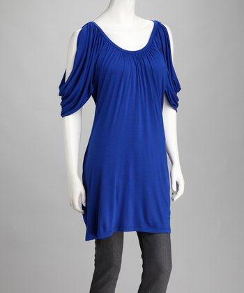 Royal Blue Ruched Cold-Shoulder Top