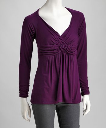 Purple Gathered Surplice Top - Plus