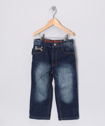 Faded Indigo Embroidered Jeans - Toddler
