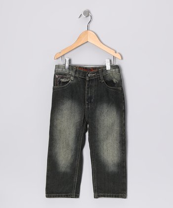 Faded Black Uneven Pocket Jeans - Toddler