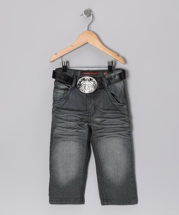 Gray Whiskered Jeans - Toddler