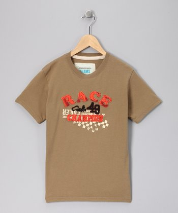 Khaki 'Race Champion' Twill Tee - Toddler