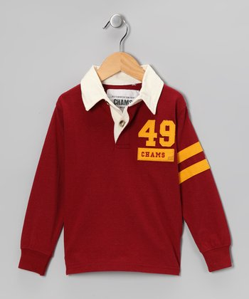Burgundy Stripe Rugby Shirt - Boys