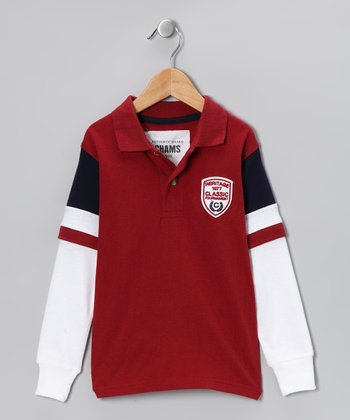 Burgundy & White Polo - Toddler
