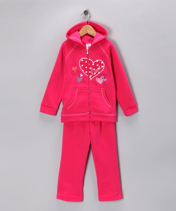 Fuchsia 'Love' Zip-Up Hoodie & Sweatpants - Girls