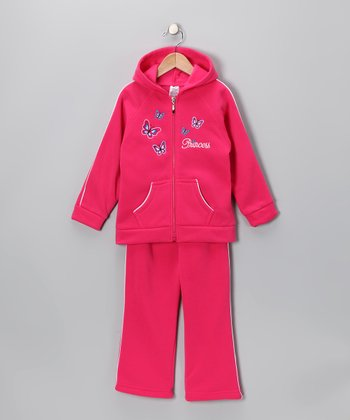 Fuchsia Hooded Warm-Up Jacket & Pants - Girls