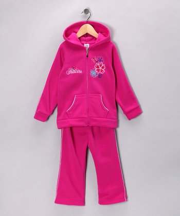Raspberry Flower 'Princess' Hoodie & Sweatpants - Girls