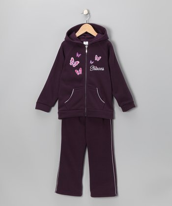 Purple Hooded Warm-Up Jacket & Pants - Girls