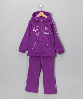 Light Purple Zip-Up Hoodie & Sweatpants - Girls