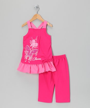 Fuchsia 'Princess' Swing Tunic & Capri Leggings - Toddler & Girls