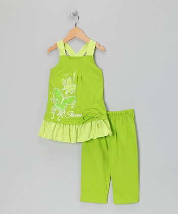 Lime 'Princess' Swing Tunic & Capri Leggings - Toddler & Girls
