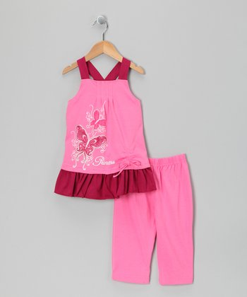 Pink 'Princess' Swing Tunic & Capri Leggings - Toddler & Girls