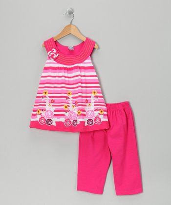 Fuchsia Horizon Tunic & Capri Leggings - Infant, Toddler & Girls