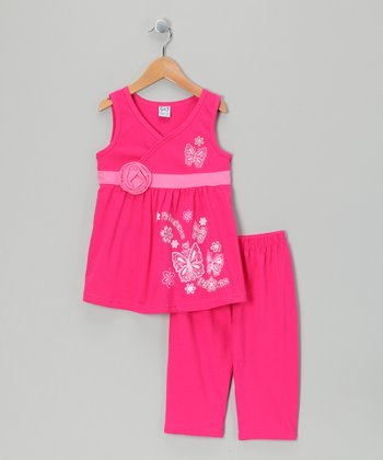 Fuchsia Bow Tunic & Capri Leggings - Infant, Toddler & Girls