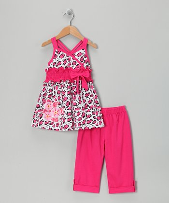 Fuchsia Leopard Tunic & Capri Leggings - Infant, Toddler & Girls