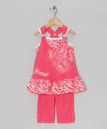 Coral Zebra 'Princess' Tunic & Capri Leggings - Toddler & Girls