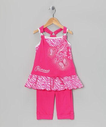 Fuchsia Zebra 'Princess' Tunic & Capri Leggings - Toddler & Girls