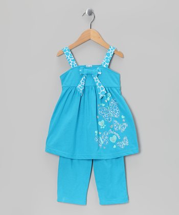 Turquoise Giraffe Tunic & Capri Leggings - Girls