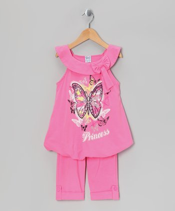 Pink Butterfly Bubble Tunic & Capri Leggings - Toddler & Girls