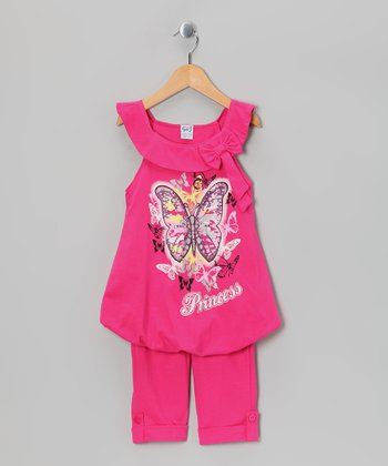 Fuchsia Butterfly Bubble Tunic & Capri Leggings - Toddler & Girls