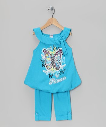 Turquoise Butterfly Bubble Tunic & Capri Leggings - Toddler & Girls