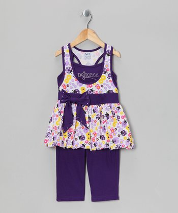 Purple 'Princess' Bubble Tunic & Capri Leggings - Girls
