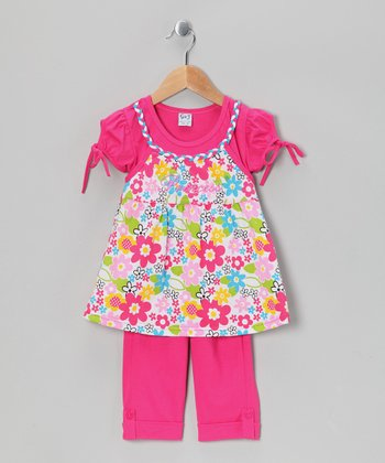 Fuchsia 'Princess' Floral Tunic & Capri Leggings - Girls