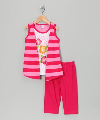 Fuchsia Stripe Flyaway Tunic & Capri Leggings - Toddler & Girls