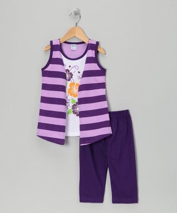 Purple Stripe Flyaway Tunic & Capri Leggings - Toddler & Girls