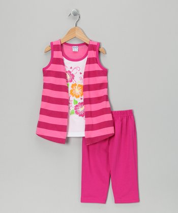 Raspberry Stripe Flyaway Tunic & Capri Leggings - Toddler & Girls