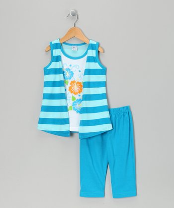 Teal Stripe Flyaway Tunic & Capri Leggings - Toddler & Girls