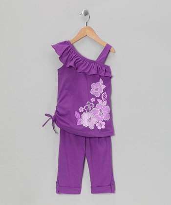 Purple Flower Tunic & Capri Leggings - Girls
