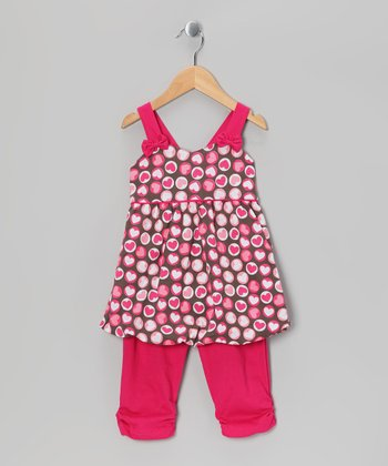 Fuchsia Heart Tunic & Capri Leggings - Girls
