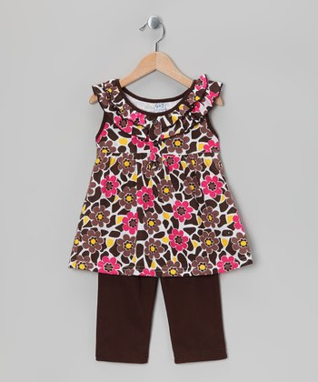 Brown Floral Ruffle Tunic & Capri Leggings - Girls