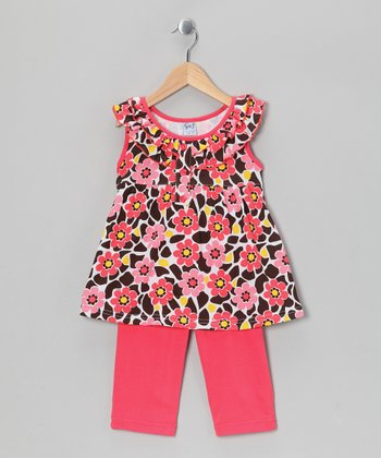 Coral Floral Ruffle Tunic & Capri Leggings - Girls
